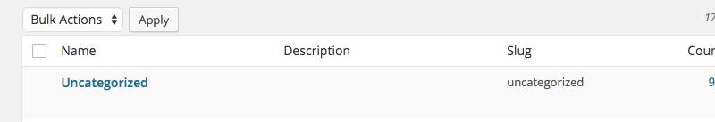 WordPress uncategorized category