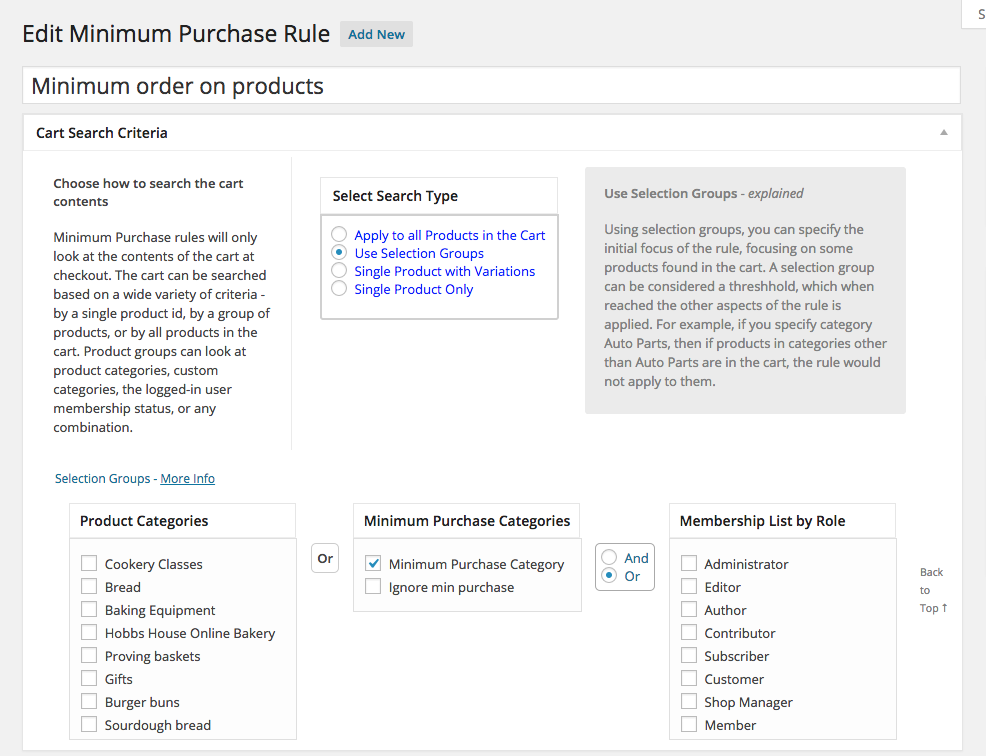 Setup Minimum Purchase Order Rules
