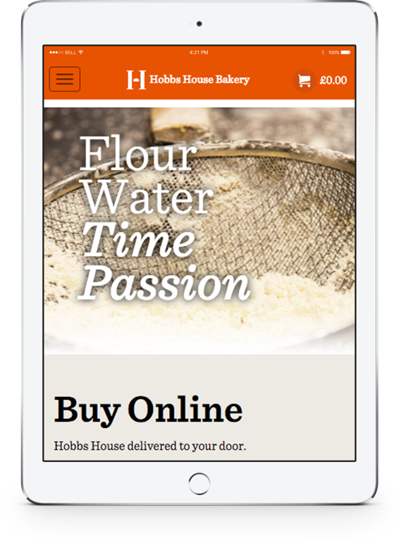 Hobbs House Bakery Website iPad