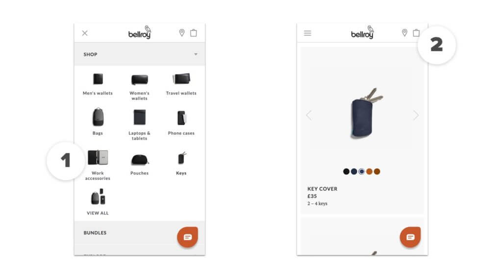 Bellroy mobile ecommerce site