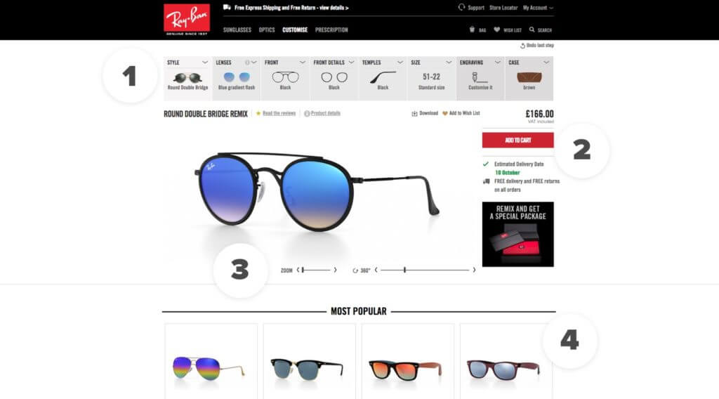 Ray-Ban Product Customiser