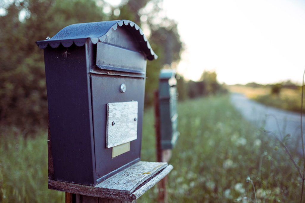 Postbox on a road