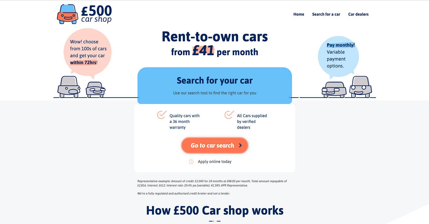 500 Pound car Shop homepage