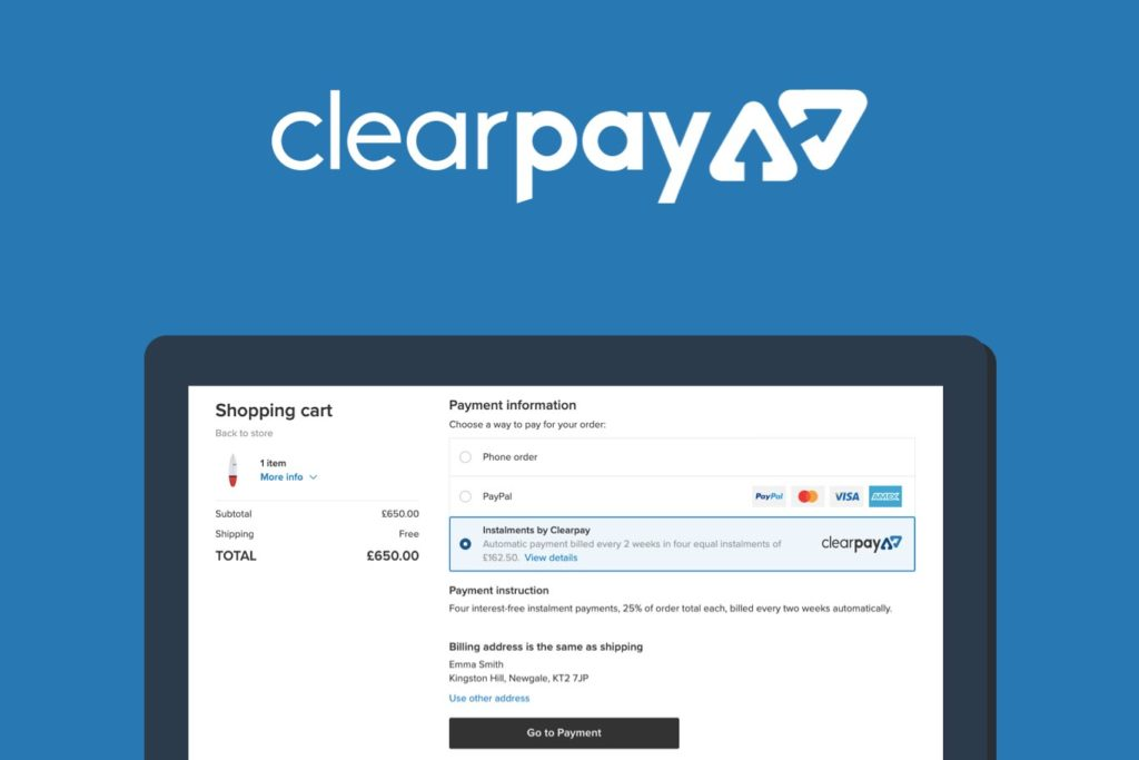 Clearpay payment method