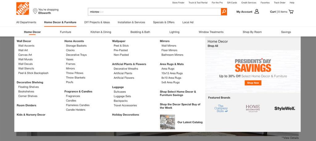 Home depot categories