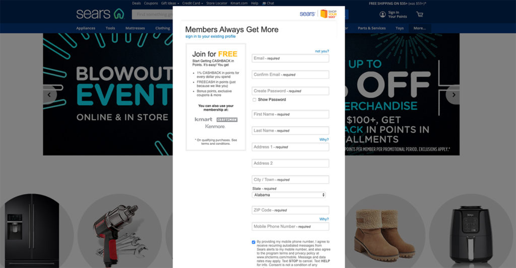 Sears account sign up